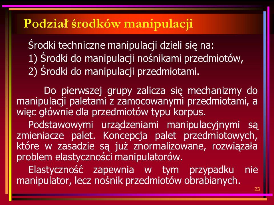 23 Podział środków manipulacji Środki techniczne manipulacji dzieli się na: 1) Środki do manipulacji nośnikami przedmiotów, 2) Środki do manipulacji przedmiotami.