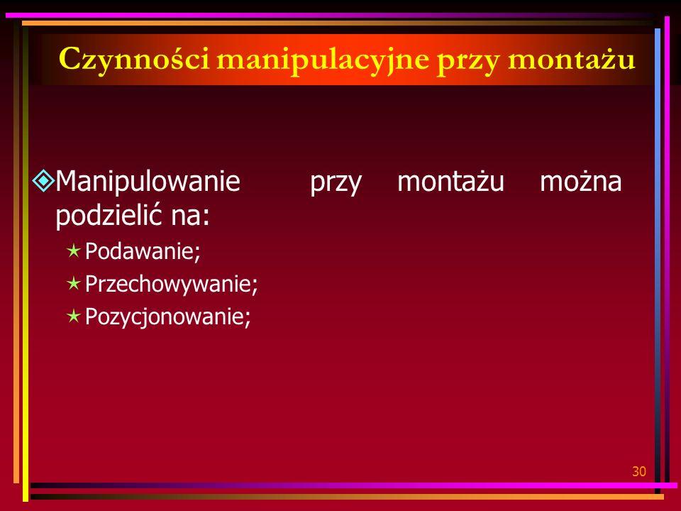 30 Czynności manipulacyjne przy montażu Manipulowanie przy montażu można podzielić na: Podawanie; Przechowywanie; Pozycjonowanie;