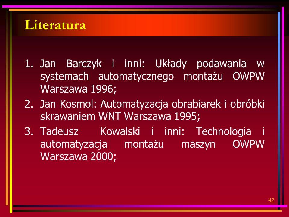 42 Literatura 1.Jan Barczyk i inni: Układy podawania w systemach automatycznego montażu OWPW Warszawa 1996; 2.Jan Kosmol: Automatyzacja obrabiarek i o