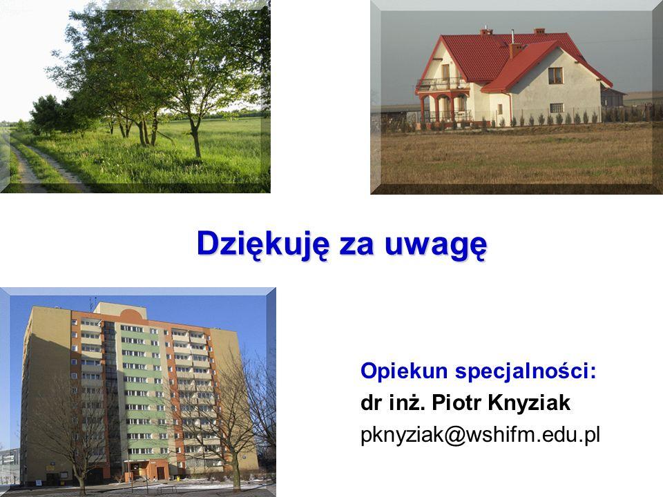 Dziękuję za uwagę Opiekun specjalności: dr inż. Piotr Knyziak pknyziak@wshifm.edu.pl