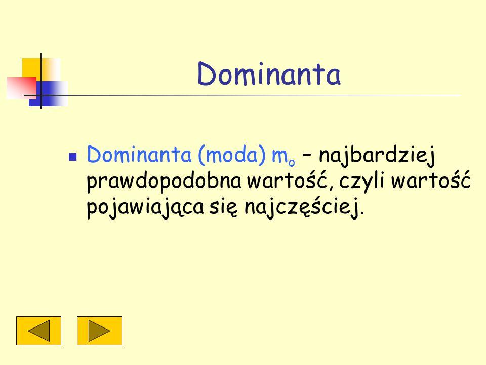 Dominanta Dominanta (moda) m o – najbardziej prawdopodobna wartość, czyli wartość pojawiająca się najczęściej.