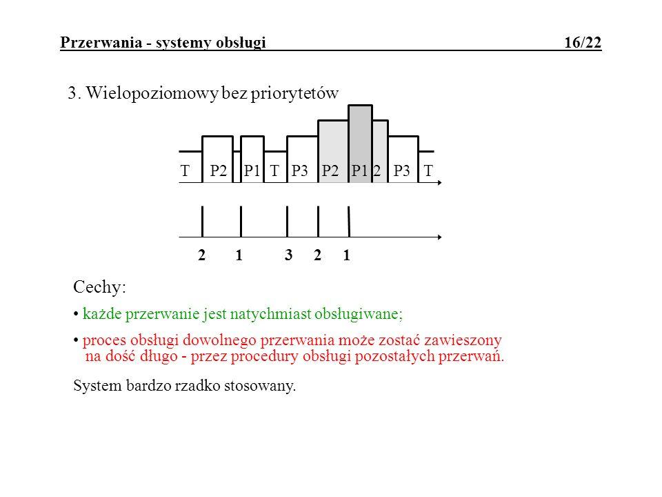 Przerwania - systemy obsługi 16/22 3. Wielopoziomowy bez priorytetów Cechy: każde przerwanie jest natychmiast obsługiwane; proces obsługi dowolnego pr