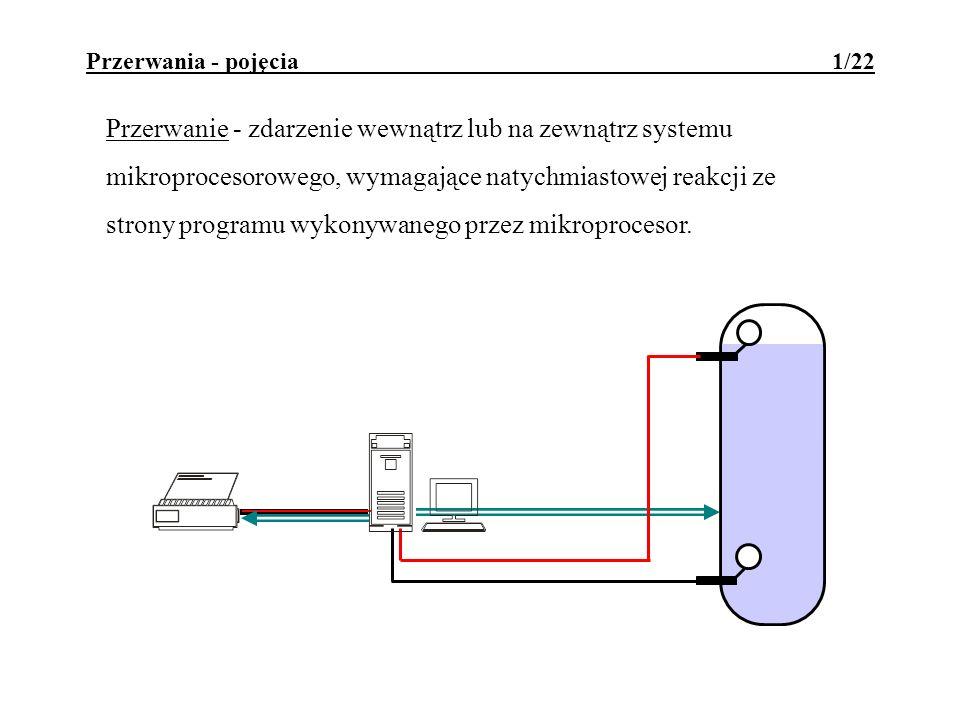 Przerwania - pojęcia 1/22 Przerwanie - zdarzenie wewnątrz lub na zewnątrz systemu mikroprocesorowego, wymagające natychmiastowej reakcji ze strony pro