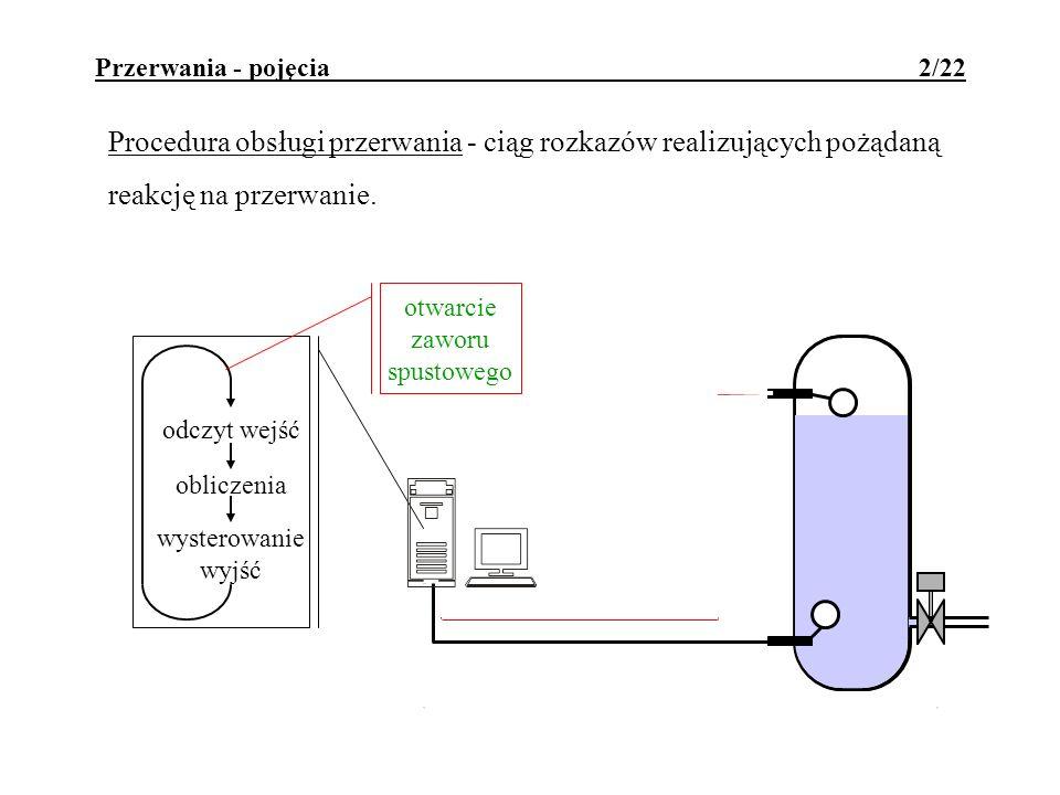 Przerwania - pojęcia 2/22 Procedura obsługi przerwania - ciąg rozkazów realizujących pożądaną reakcję na przerwanie. odczyt wejść obliczenia wysterowa