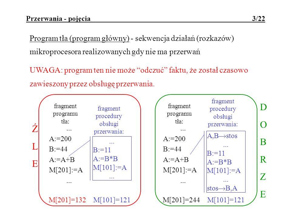 Przerwania - pojęcia 3/22 Program tła (program główny) - sekwencja działań (rozkazów) mikroprocesora realizowanych gdy nie ma przerwań UWAGA: program