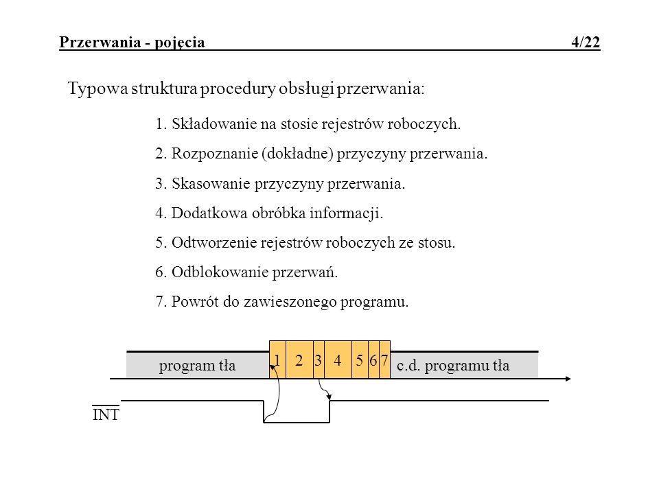 c.d. programu tła 3245671 Przerwania - pojęcia 4/22 Typowa struktura procedury obsługi przerwania: 1. Składowanie na stosie rejestrów roboczych. 2. Ro