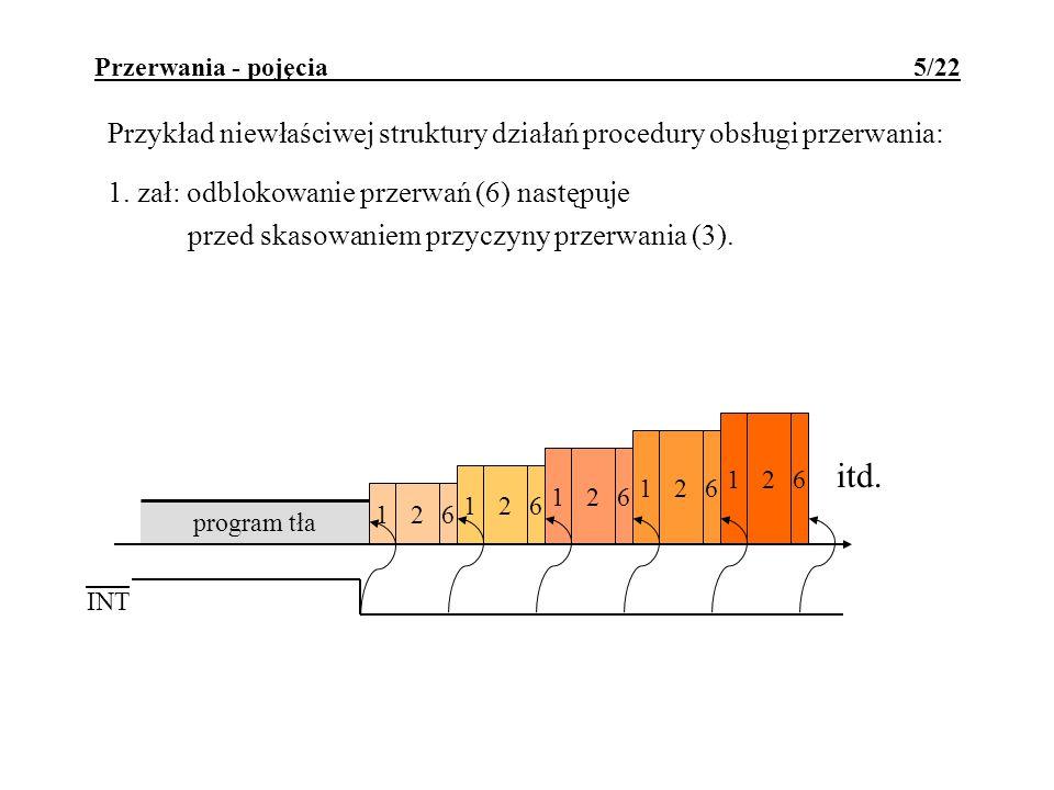 261 Przerwania - pojęcia 5/22 Przykład niewłaściwej struktury działań procedury obsługi przerwania: 1. zał: odblokowanie przerwań (6) następuje przed