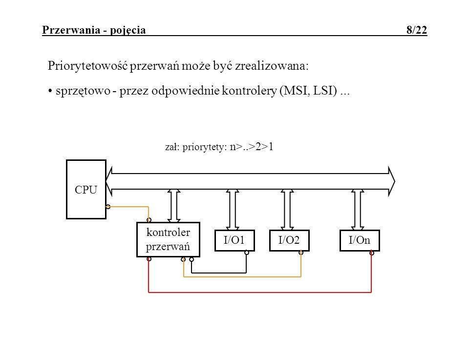 Przerwania - pojęcia 8/22 Priorytetowość przerwań może być zrealizowana: sprzętowo - przez odpowiednie kontrolery (MSI, LSI)... kontroler przerwań CPU