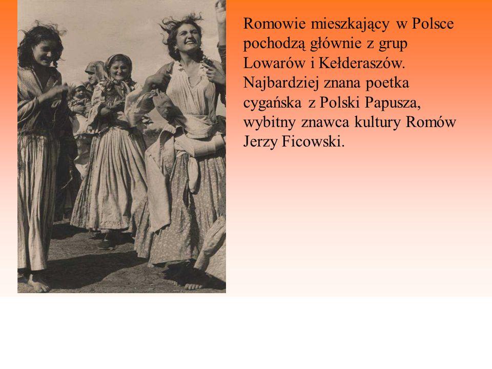 Romowie mieszkający w Polsce pochodzą głównie z grup Lowarów i Kełderaszów. Najbardziej znana poetka cygańska z Polski Papusza, wybitny znawca kultury