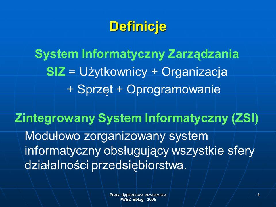 Praca dyplomowa inżynierska PWSZ Elbląg, 2005 4 Definicje System Informatyczny Zarządzania SIZ = Użytkownicy + Organizacja + Sprzęt + Oprogramowanie Z