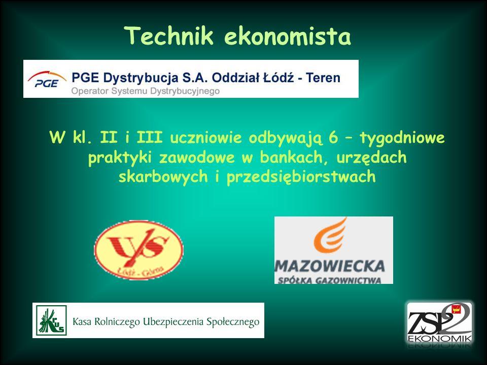 Technik ekonomista W kl. II i III uczniowie odbywają 6 – tygodniowe praktyki zawodowe w bankach, urzędach skarbowych i przedsiębiorstwach