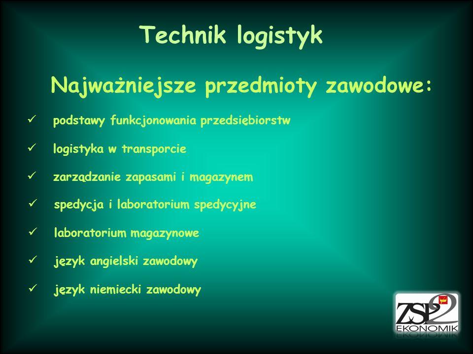Technik logistyk Najważniejsze przedmioty zawodowe: podstawy funkcjonowania przedsiębiorstw logistyka w transporcie zarządzanie zapasami i magazynem s