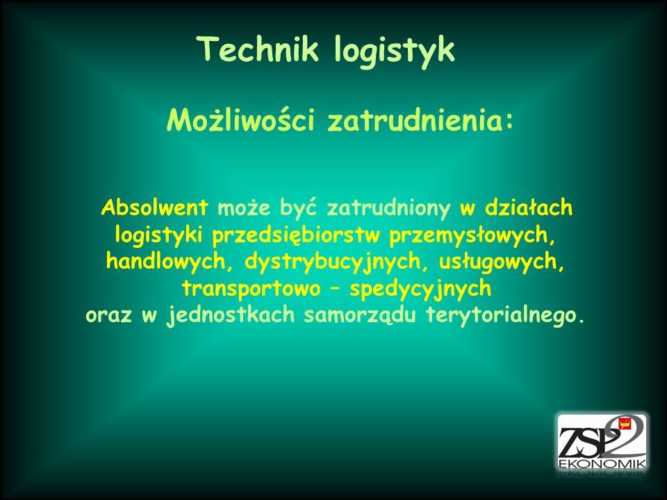 Technik logistyk Możliwości zatrudnienia: Absolwent może być zatrudniony w działach logistyki przedsiębiorstw przemysłowych, handlowych, dystrybucyjny