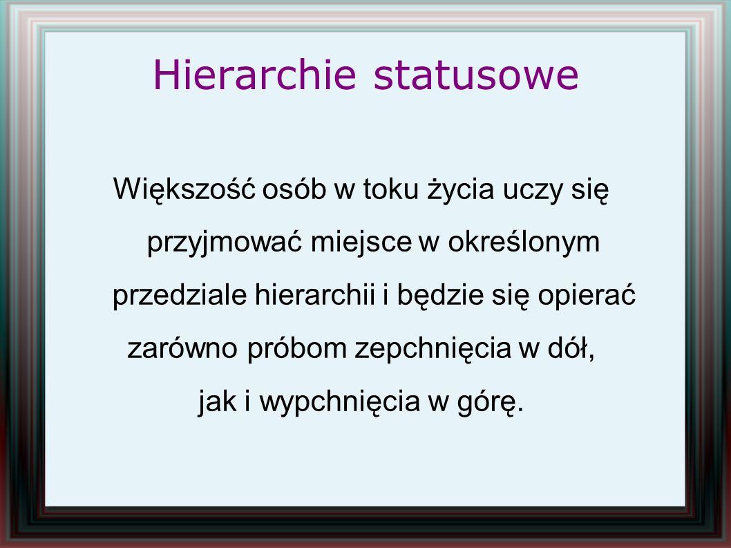 Hierarchie statusowe Większość osób w toku życia uczy się przyjmować miejsce w określonym przedziale hierarchii i będzie się opierać zarówno próbom ze