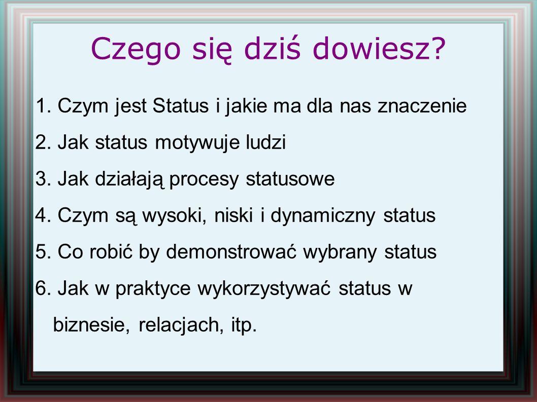 Czego się dziś dowiesz? 1. Czym jest Status i jakie ma dla nas znaczenie 2. Jak status motywuje ludzi 3. Jak działają procesy statusowe 4. Czym są wys
