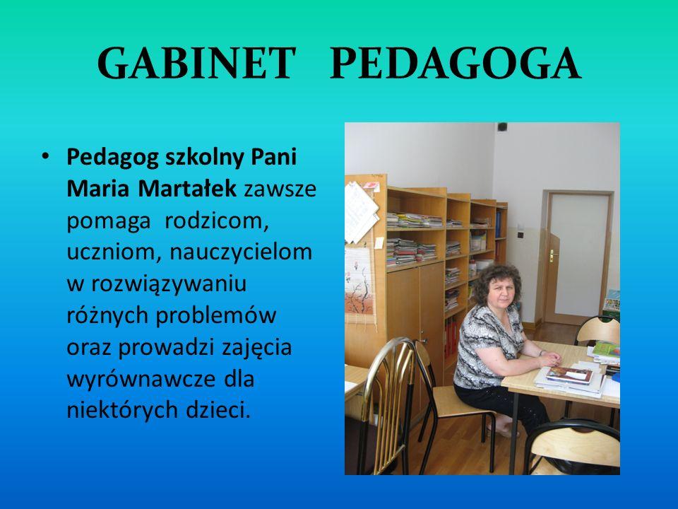 GABINET PEDAGOGA Pedagog szkolny Pani Maria Martałek zawsze pomaga rodzicom, uczniom, nauczycielom w rozwiązywaniu różnych problemów oraz prowadzi zaj