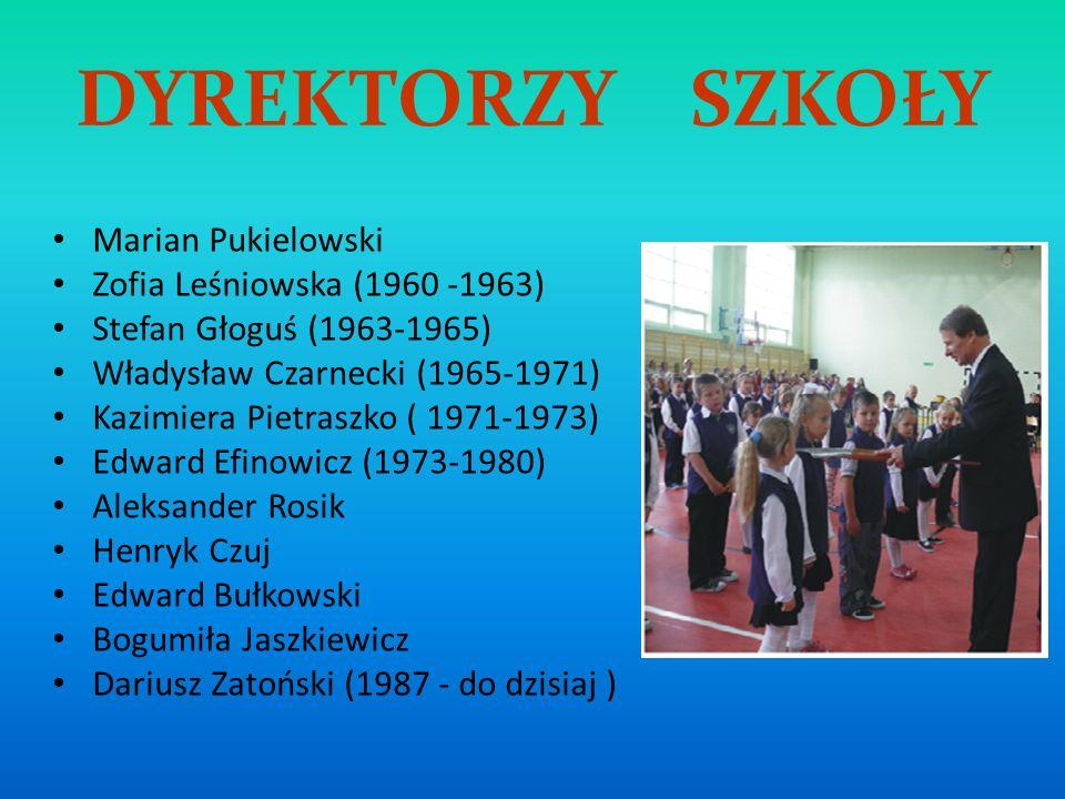 DYREKTORZY SZKOŁY Marian Pukielowski Zofia Leśniowska (1960 -1963) Stefan Głoguś (1963-1965) Władysław Czarnecki (1965-1971) Kazimiera Pietraszko ( 19