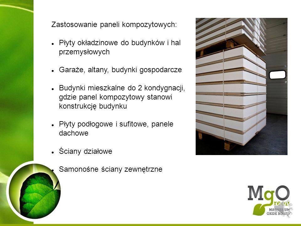 Zastosowanie paneli kompozytowych: Płyty okładzinowe do budynków i hal przemysłowych Garaże, altany, budynki gospodarcze Budynki mieszkalne do 2 kondy