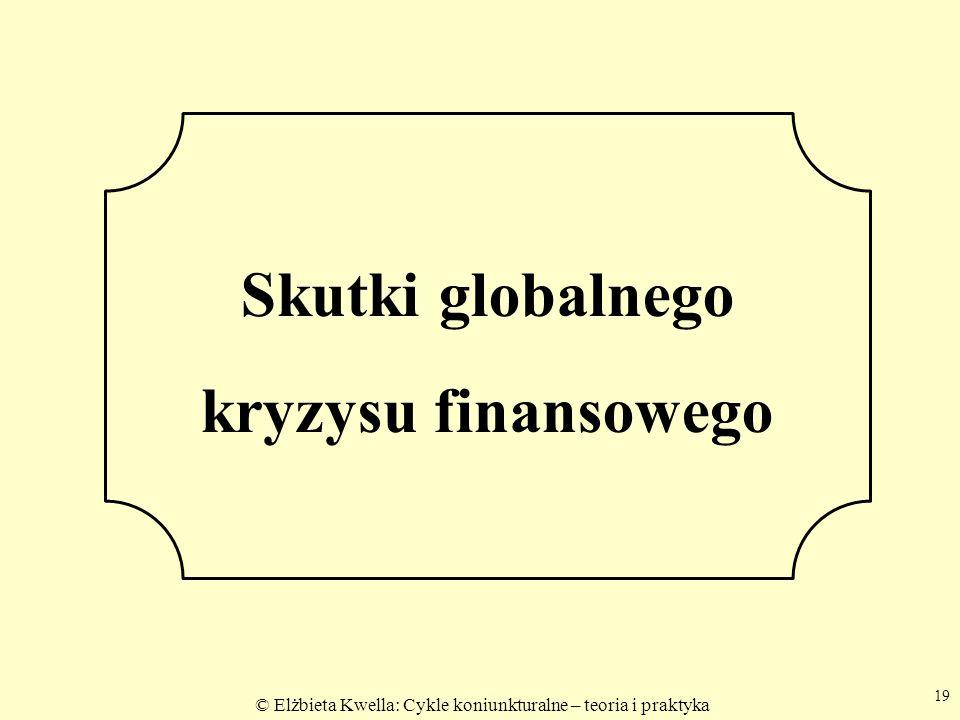 © Elżbieta Kwella: Cykle koniunkturalne – teoria i praktyka 19 Skutki globalnego kryzysu finansowego