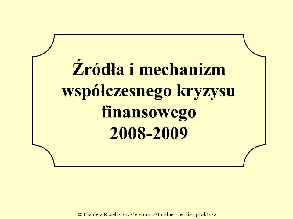 © Elżbieta Kwella: Cykle koniunkturalne – teoria i praktyka 2 Źródła i mechanizm współczesnego kryzysu finansowego 2008-2009