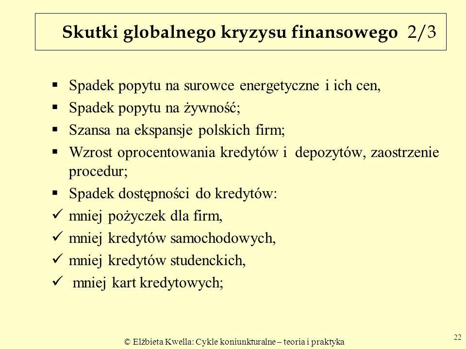 © Elżbieta Kwella: Cykle koniunkturalne – teoria i praktyka Skutki globalnego kryzysu finansowego 2/3 Spadek popytu na surowce energetyczne i ich cen, Spadek popytu na żywność; Szansa na ekspansje polskich firm; Wzrost oprocentowania kredytów i depozytów, zaostrzenie procedur; Spadek dostępności do kredytów: mniej pożyczek dla firm, mniej kredytów samochodowych, mniej kredytów studenckich, mniej kart kredytowych; 22