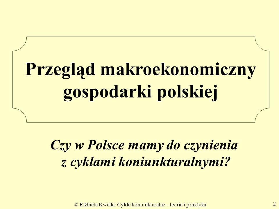 © Elżbieta Kwella: Cykle koniunkturalne – teoria i praktyka 2 Przegląd makroekonomiczny gospodarki polskiej Czy w Polsce mamy do czynienia z cyklami k