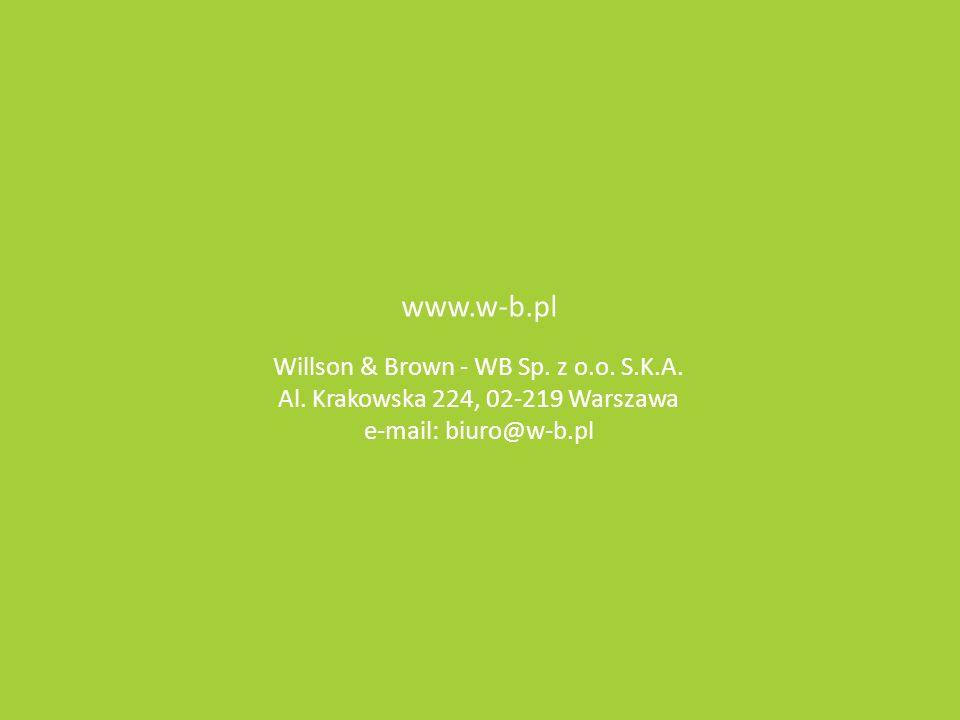 www.w-b.pl Willson & Brown - WB Sp. z o.o. S.K.A. Al. Krakowska 224, 02-219 Warszawa e-mail: biuro@w-b.pl