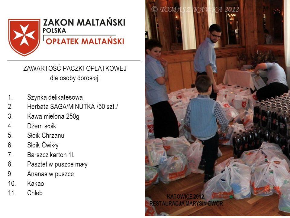 KATOWICE 2012, RESTAURACJA MARYSIN DWÓR ZAWARTOŚĆ PACZKI OPŁATKOWEJ dla osoby dorosłej: 1.Szynka delikatesowa 2.Herbata SAGA/MINUTKA /50 szt./ 3.Kawa