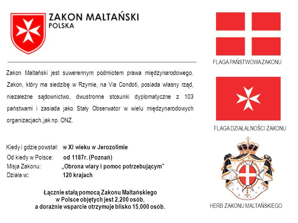 FLAGA DZIAŁALNOŚCI ZAKONU Zakon Maltański jest suwerennym podmiotem prawa międzynarodowego. Zakon, który ma siedzibę w Rzymie, na Via Condoti, posiada