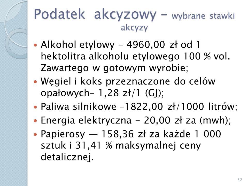 Podatek akcyzowy – wybrane stawki akcyzy Alkohol etylowy - 4960,00 zł od 1 hektolitra alkoholu etylowego 100 % vol. Zawartego w gotowym wyrobie; Węgie
