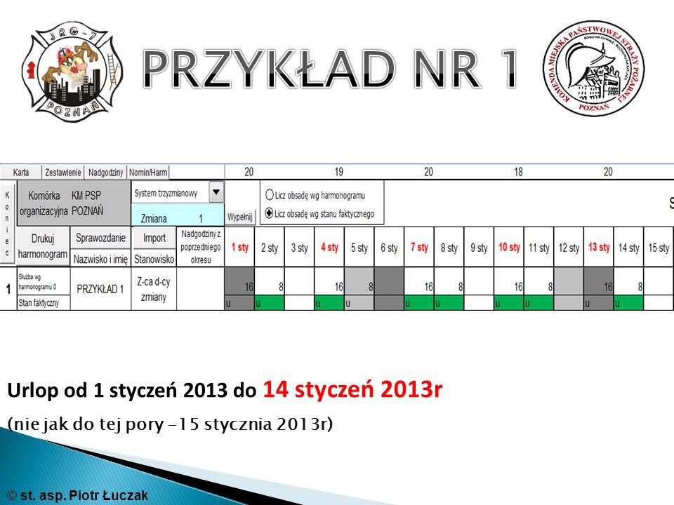 Urlop od 1 styczeń 2013 do 14 styczeń 2013r (nie jak do tej pory -15 stycznia 2013r) © st. asp. Piotr Łuczak