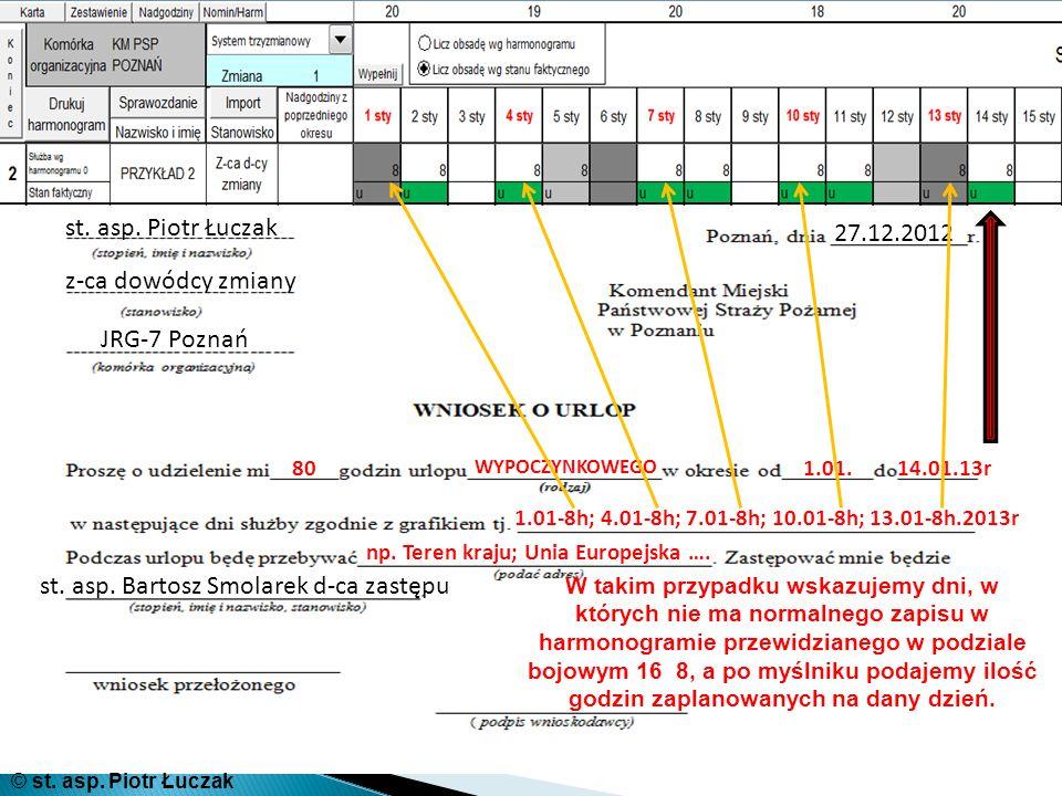 st. asp. Piotr Łuczak z-ca dowódcy zmiany JRG-7 Poznań 27.12.2012 80 WYPOCZYNKOWEGO 1.01.14.01.13r 1.01-8h; 4.01-8h; 7.01-8h; 10.01-8h; 13.01-8h.2013r
