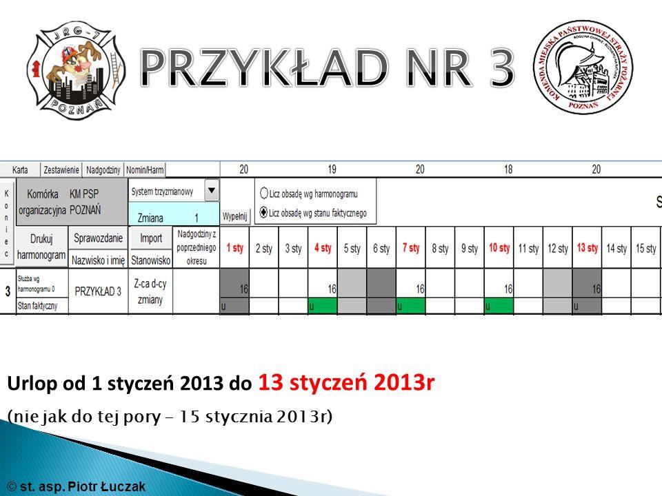 Urlop od 1 styczeń 2013 do 13 styczeń 2013r (nie jak do tej pory - 15 stycznia 2013r) © st. asp. Piotr Łuczak