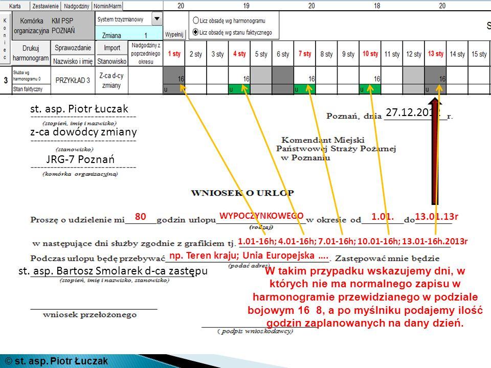 st. asp. Piotr Łuczak z-ca dowódcy zmiany JRG-7 Poznań 27.12.2012 80 WYPOCZYNKOWEGO 1.01.13.01.13r 1.01-16h; 4.01-16h; 7.01-16h; 10.01-16h; 13.01-16h.