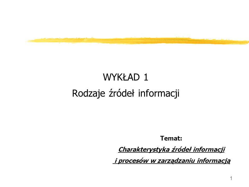 1 WYKŁAD 1 Rodzaje źródeł informacji Temat: Charakterystyka źródeł informacji i procesów w zarządzaniu informacją