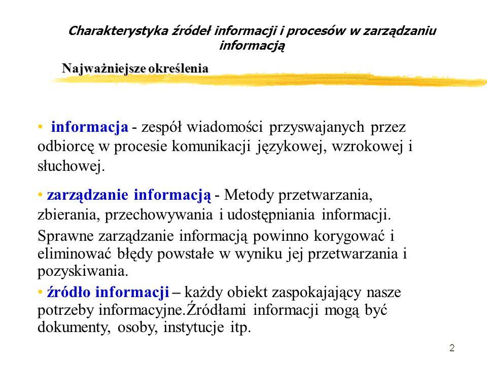 2 Charakterystyka źródeł informacji i procesów w zarządzaniu informacją Najważniejsze określenia informacja - zespół wiadomości przyswajanych przez odbiorcę w procesie komunikacji językowej, wzrokowej i słuchowej.