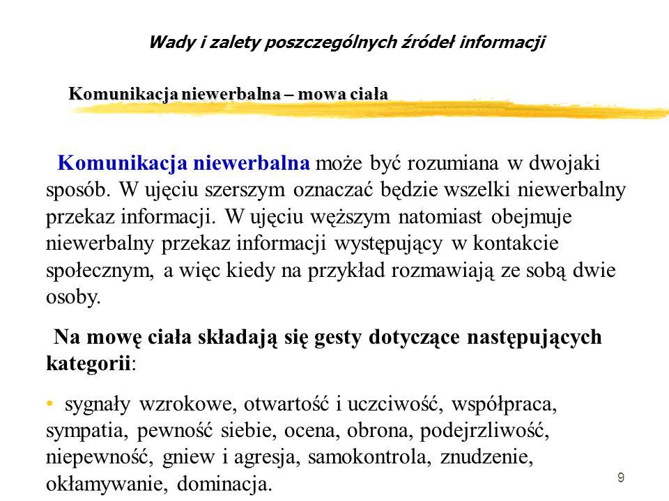9 Komunikacja niewerbalna – mowa ciała Wady i zalety poszczególnych źródeł informacji Komunikacja niewerbalna może być rozumiana w dwojaki sposób.