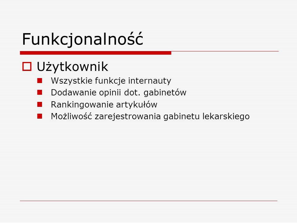 Funkcjonalność Użytkownik Wszystkie funkcje internauty Dodawanie opinii dot. gabinetów Rankingowanie artykułów Możliwość zarejestrowania gabinetu leka