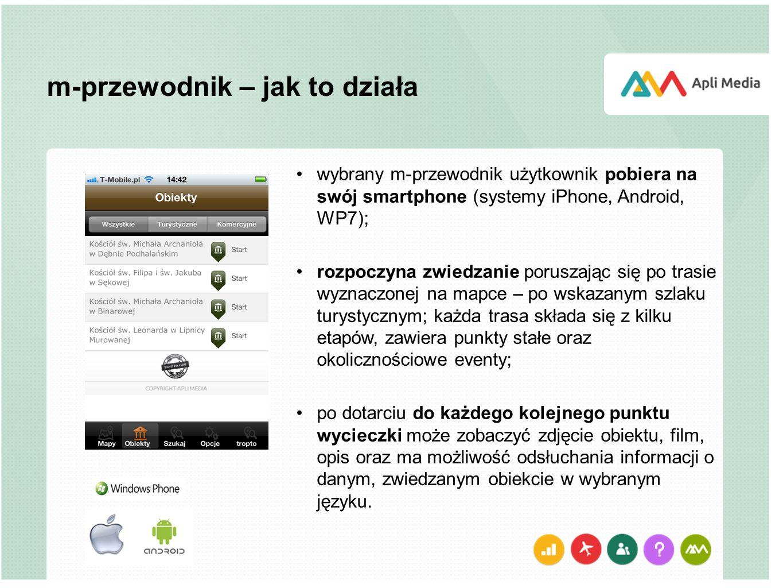m-przewodnik – jak to działa wybrany m-przewodnik użytkownik pobiera na swój smartphone (systemy iPhone, Android, WP7); rozpoczyna zwiedzanie poruszając się po trasie wyznaczonej na mapce – po wskazanym szlaku turystycznym; każda trasa składa się z kilku etapów, zawiera punkty stałe oraz okolicznościowe eventy; po dotarciu do każdego kolejnego punktu wycieczki może zobaczyć zdjęcie obiektu, film, opis oraz ma możliwość odsłuchania informacji o danym, zwiedzanym obiekcie w wybranym języku.