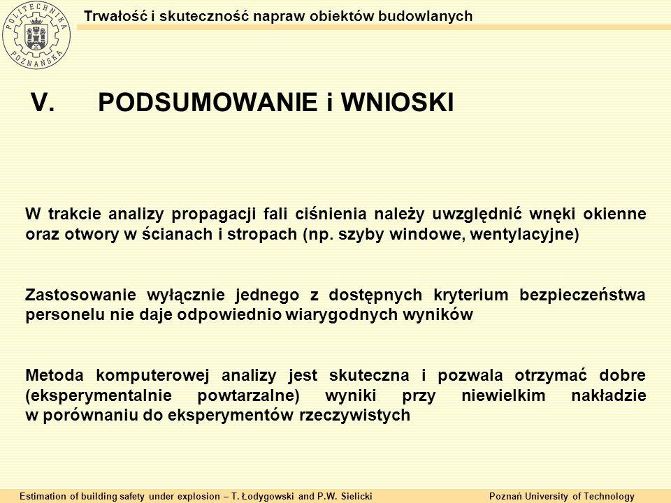 V.PODSUMOWANIE i WNIOSKI Estimation of building safety under explosion – T. Łodygowski and P.W. SielickiPoznań University of Technology Trwałość i sku