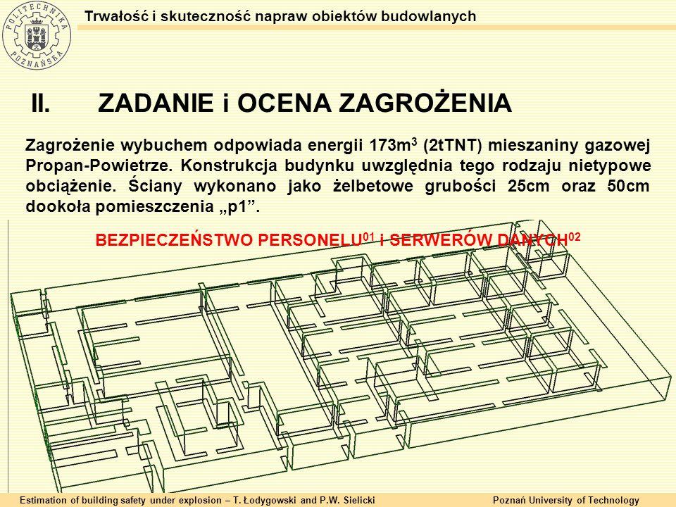 II.ZADANIE i OCENA ZAGROŻENIA Estimation of building safety under explosion – T. Łodygowski and P.W. SielickiPoznań University of Technology Trwałość