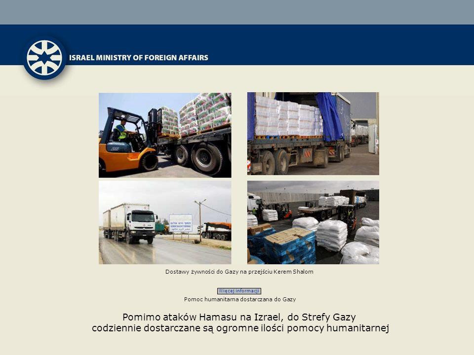Dostawy żywności do Gazy na przejściu Kerem Shalom Więcej informacji Pomoc humanitarna dostarczana do Gazy Pomimo ataków Hamasu na Izrael, do Strefy Gazy codziennie dostarczane są ogromne ilości pomocy humanitarnej
