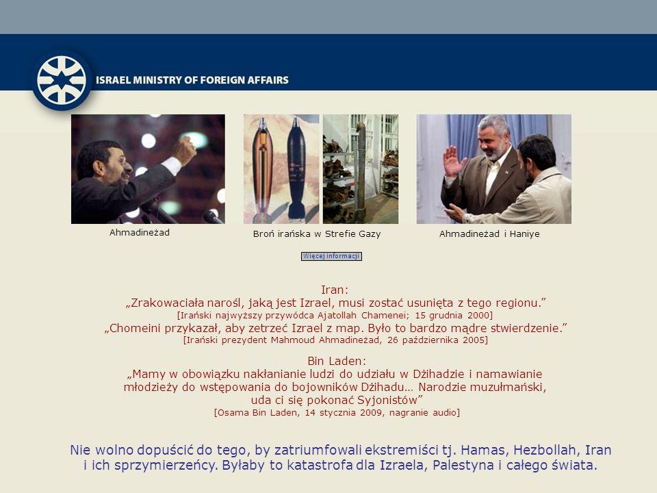 Ahmadineżad Ahmadineżad i HaniyeBroń irańska w Strefie Gazy Więcej informacji Iran: Zrakowaciała narośl, jaką jest Izrael, musi zostać usunięta z tego regionu.