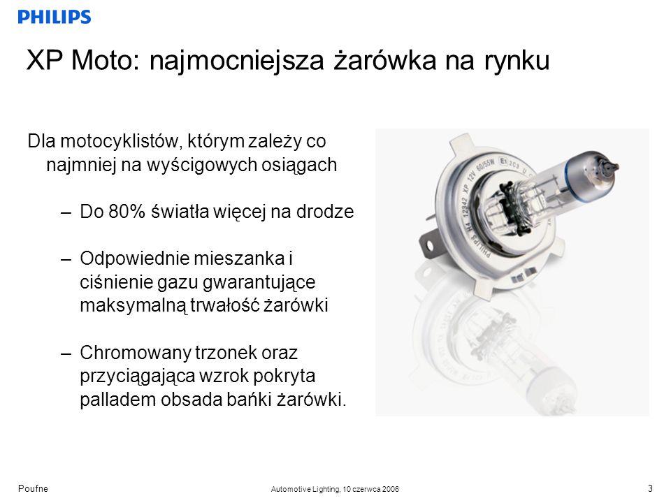Poufne Automotive Lighting, 10 czerwca 2006 XP Moto: najmocniejsza żarówka na rynku Dla motocyklistów, którym zależy co najmniej na wyścigowych osiągach –Do 80% światła więcej na drodze –Odpowiednie mieszanka i ciśnienie gazu gwarantujące maksymalną trwałość żarówki –Chromowany trzonek oraz przyciągająca wzrok pokryta palladem obsada bańki żarówki.