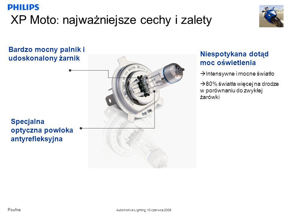 Poufne Automotive Lighting, 10 czerwca 2006 XP Moto : najważniejsze cechy i zalety Bardzo mocny palnik i udoskonalony żarnik Specjalna optyczna powłoka antyrefleksyjna Niespotykana dotąd moc oświetlenia Intensywne i mocne światło 80% światła więcej na drodze w porównaniu do zwykłej żarówki