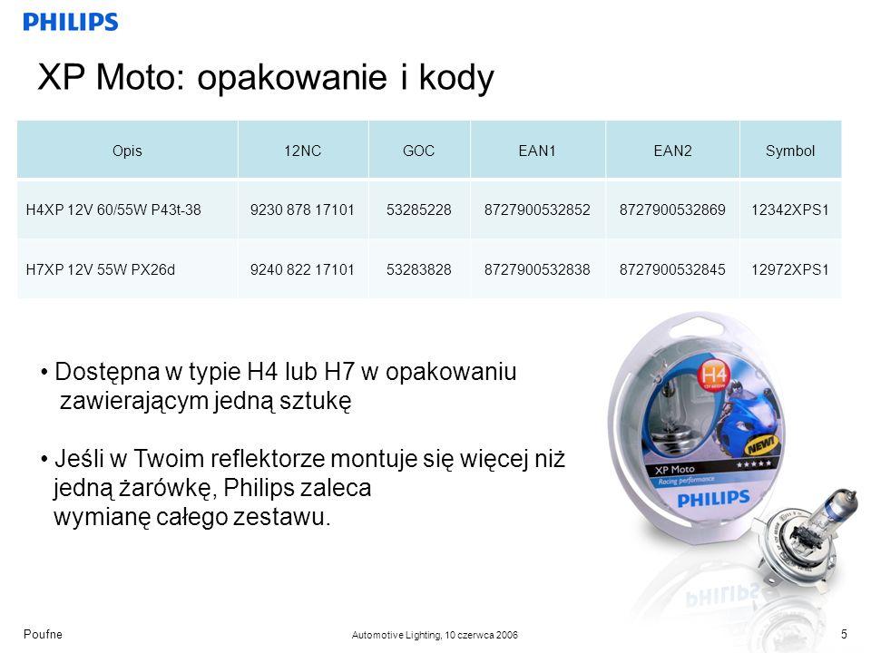 Poufne Automotive Lighting, 10 czerwca 2006 XP Moto: opakowanie i kody 5 Opis12NCGOCEAN1EAN2Symbol H4XP 12V 60/55W P43t-389230 878 17101532852288727900532852872790053286912342XPS1 H7XP 12V 55W PX26d9240 822 17101532838288727900532838872790053284512972XPS1 Dostępna w typie H4 lub H7 w opakowaniu zawierającym jedną sztukę Jeśli w Twoim reflektorze montuje się więcej niż jedną żarówkę, Philips zaleca wymianę całego zestawu.