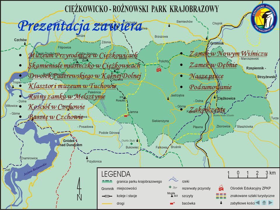 Prezentacja zawiera Muzeum Przyrodnicze w Ciężkowicach Skamieniałe miasteczko w Ciężkowicach Dworek Paderewskiego w Kąśnej Dolnej Klasztor i muzeum w