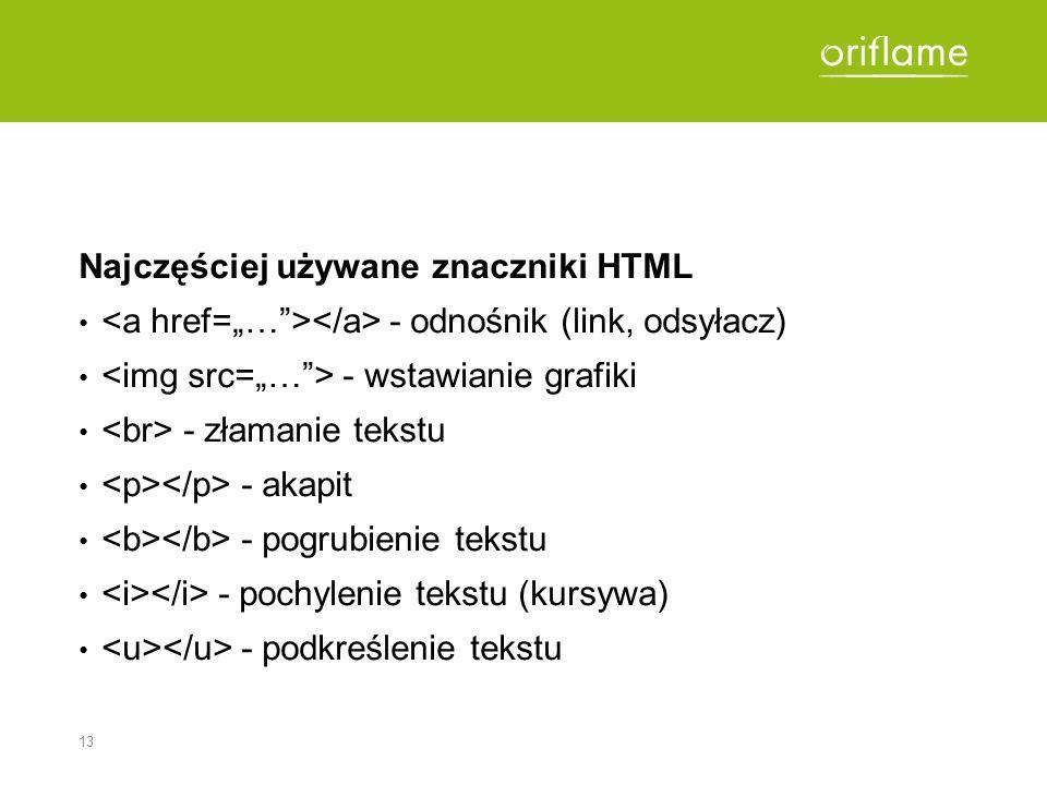 13 Najczęściej używane znaczniki HTML - odnośnik (link, odsyłacz) - wstawianie grafiki - złamanie tekstu - akapit - pogrubienie tekstu - pochylenie te