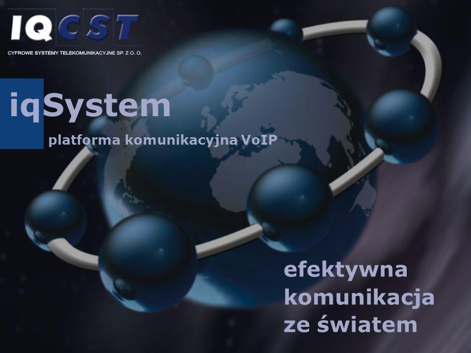 Platforma iqSystem kompleksowe rozwiązanie, należące do najnowocześ- niejszych rozwiązań techno- logii NGN (Next Generation Network), umożliwia szybkie i tanie wdrożenie usług telefonii IP w sieciach operatorów CATV, dostawców usług ISP, ope- ratorów telekomunikacyjnych oraz klientów korporacyj- nych.
