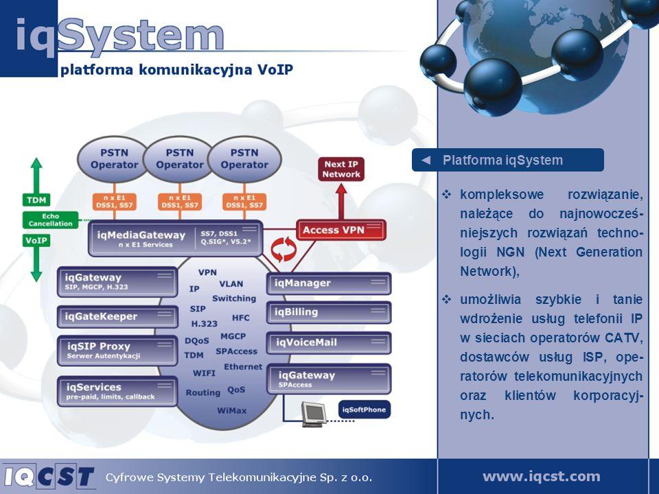 Platforma iqSystem posiada architekturę typu softswitch, pozwala na realizowanie usług telefonicznych w sie- ciach LAN, WAN lub MAN, umożliwia migrację dotych- czasowych sieci informatycz- nych w kierunku uzyskania całkowitej konwergencji.